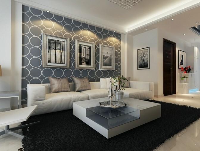 摩玛城现代黑白风格装修设计效果图 成都后80装修队