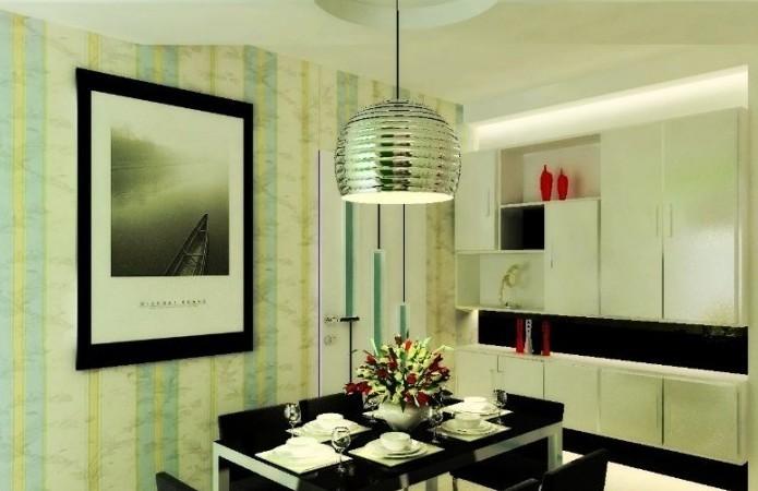 华楠半岛现代风格餐厅装修设计实景图